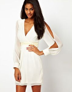 Lipsy Cold Shoulder Dress with Beaded Waistband on shopstyle.com