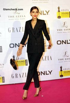 Sonam Kapoor in Jean Paul Gaultier Tuxedo at Grazia Young Fashion Awards 2014 Young Fashion, High Fashion, Princess In Arabic, Real Life Princesses, Androgynous Look, Sonam Kapoor, Jean Paul Gaultier, Tuxedo, Peplum Dress
