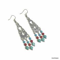 Red Blue Earrings, Blue Red Earrings, Turquoise and Coral Earrings, Southern Earrings, Southwestern Earrings, Chandelier Bead Earrings