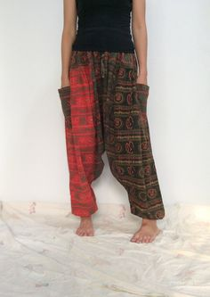 Mixed Colors Hippie Harem Pants, Unisex Pants, Drop Crotch Pants, Baggy Pants with Om patterned (HR-489) by ThaiFascinate on Etsy