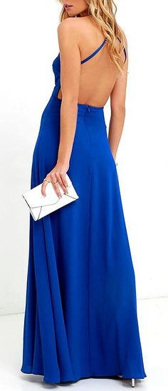 The Pleasantly Surprised Royal Blue Backless Maxi Dress gives you quite a lot to be excited about! A darted, backless bodice rises to meet adjustable spaghetti straps (that cross at back) above a fitted waist. #lovelulus