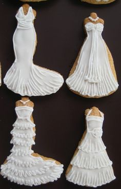 Wedding dress cookies - For all your cake decorating supplies, please visit craftcompany.co.uk