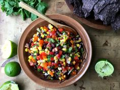 Sweet Pepper Black Bean Salsa is great eaten like a dip with tortilla chips or added to quesadillas, tacos and fajitas. The bright flavours of lime & cilantro give it a delicious lift. Black Bean Salsa, Black Beans, Vegan Gluten Free, Vegan Vegetarian, Bean Dip, Plant Based Protein, Stuffed Sweet Peppers, Green Kitchen, Quesadillas