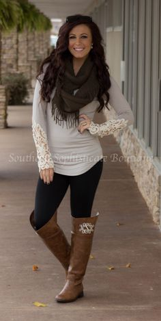 Taupe Crochet Sleeve Top / Southern Sophisticate Boutique