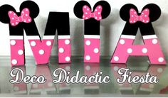Minnie Mouse, letras decoradas, FIESTA/PARTY