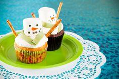 Receta de Cupcakes de Muñeco de Nieve