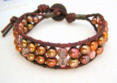 Beaded Leather Wrap Cuff with Red Brown Leather, Freshwater Pearls and Bronze Glass Beads