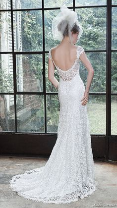 """Maggie Sottero Fall 2015 Wedding Dresses   Wedding Inspirasi   """"Luella"""" -- Lovely & Romantic Embroidered Lace Wedding Gown Featuring Lace Cap Sleeves, A Scoop Back, & Pretty, Court Length Train××××"""