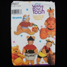 Simplicity Costumes 9907 Disney Winnie the Pooh Babies Toddlers size 1/2-4 Uncut #Simplicity
