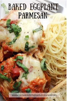 Baked Eggplant Parmesan by Renee's Kitchen Adventures. Healthier than the classic version. No frying involved. Fresh eggplant slices, breaded and baked then placed in a casserole dish with plenty of sacuce and cheese. #RKArecipes #Bakedeggplant Best Pasta Recipe Ever, Best Pasta Recipes, Best Dinner Recipes, Chicken Pasta Dishes, Chicken Parmesan Recipes, Baked Eggplant, Eggplant Parmesan, Best Comfort Food, Comfort Foods