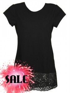 Leelach - Modest Clothing in Plus sizes - Black Capped Sleeve With Extra Lace Layering Shirt
