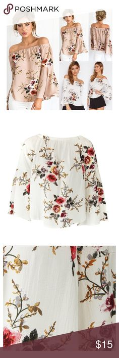 Floral off the shoulder Blouse (M) (NWOT) Floral off the shoulder Blouse (M), refer to sizing chart, chiffon fabric, cap long sleeve style, never been worn, excellent condition, have this Blouse in both colors white and tan, both size M. Tops Blouses