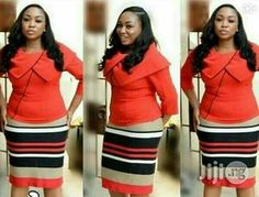 Lovely skirt and blouse for all ladies at an affordable price African Dresses For Women, African Attire, African Wear, African Fashion Dresses, Classy Dress, Classy Outfits, Girl Fashion, Fashion Outfits, Fashion Design