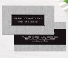 Gray linen elegant personal profile business cards. Modern, elegant personal profile or professional business card template featuring a printed, light gray linen texture. Customizable name on the front and name and contact information on the back. A classy design ideal for an interior designer or anyone wanting a stylish, classy business card.