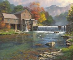 The Old Mill by Mark Keathley ~ Pigeon Forge ~ waterfall river autumn trees: