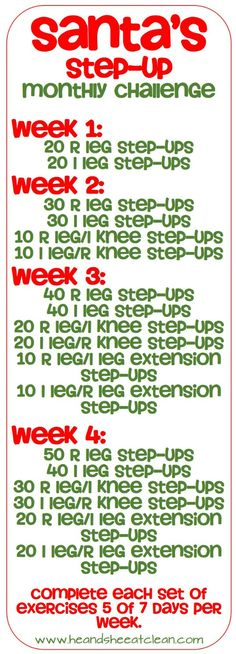 Can you spare a few minutes per day for a fabulous looking backside? Try the Santa's Step-up Monthly Challenge in December. Can you spare a few minutes per day for a fabulous looking backside? Try the Santa's Step-up Monthly Challenge in December. Month Workout Challenge, Monthly Challenge, Challenge Group, Challenge Ideas, December Challenge, Fitness Herausforderungen, Physical Fitness, Group Fitness, Physical Exercise