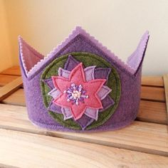 Flower Fairy Wool Felt Crown, Waldorf Inspired Dress Up, Wool Felt, Princess Crown