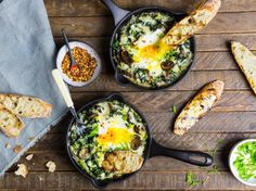 Baked Eggs with Creamy Greens, Mushrooms and Cheese   Serious Eats