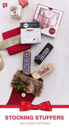 Short on stocking stuffers? Fill them with their favorite treats like Snickers, M&M & Twix tin packs, A Little Something Wonderful Gift Set and a beverage warmer.