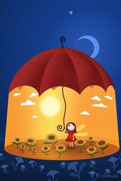 Girl keeping the sunshine under the umbrella wallpaper Umbrella Art, Under My Umbrella, 3d Art, Lit Wallpaper, Umbrellas Parasols, Illustrations, Cute Illustration, Cute Art, Whimsical