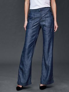 """Gap Tencel wide leg sailor pants. I bought these and LOVE them! Super soft and comfy, but super long and I don't wear heels so I had to buy in petite (and I'm 5' 7"""")."""