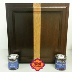 side by side of two of General Finishes most popular colors. Java Gel stain and Antique Walnut Gel stain.We can make your honey oak cabinets look fabulous with gel stain