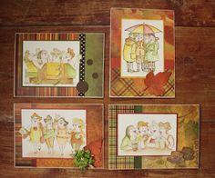 Hutton's arts and crafts. Art Impressions Under my umbrella, In the tub, Uptown girls, Girlfriend Blend.  Reminisce Autumn. Distress Ink, Distress Marker. Handmade cards.