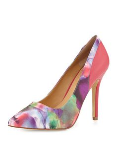 Chloe Watercolor-Print Pointy-Toe Pump, Fuchsia by Andrew Stevens at Neiman Marcus Last Call.