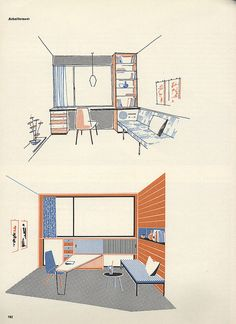 Mid Century Modern illustrations from a AIT [Interiour] magazine Define Architecture, Architecture Collage, Architecture Visualization, Architecture Graphics, Architecture Board, Architecture Drawings, Interior Architecture, Futuristic Architecture, Building Illustration