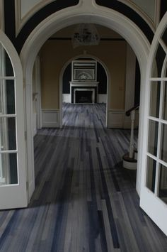 Grey stained wood floors @ DIY Home Design. Awsome for beach/lake house Staining Wood Floors, Grey Hardwood Floors, Grey Flooring, Wooden Flooring, Plywood Floors, Flooring Ideas, Floor Design, House Design, Grey Stain
