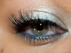 Metallic silver eyes with slate grey liner and falsies!