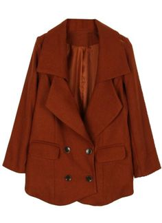 Brown Lapel Long Sleeve Double Breasted Pockets Coat - Sheinside.com