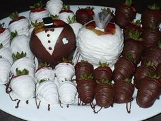 Chocolate dipped strawberries with an apple for the bride and groom - cute bridal shower idea!