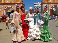 beautiful flamenco dresses at the Seville fair