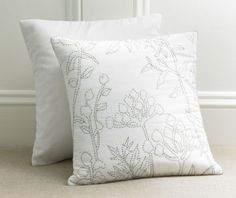 Organic Cotton Leaves Pillow Handcrafted by a women's cooperative in India by Gianna pure. artisan.
