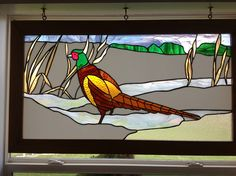 Pheasant Stained Glass Stained Glass Cardinal, Stained Glass Birds, Stained Glass Windows, Stained Glass Designs, Stained Glass Projects, Stained Glass Patterns, Fused Glass, Window Glass, Mosaic Birds