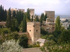Alhambra (Granada) as seen from the Generalife garden.