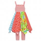 7c14a8a8ce3 Bonnie Jean Little Girls Coral Red Mixed Pattern Angled Hem Dress 2-4T -  SophiasStyle
