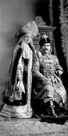 Prince, His Imperial Highness the adjutant of Grand Duke Nicholas Jr. Pavel Borisovich Scherbatov Vladimirovnoy with his wife Anna, nee Princess Baryatinskaya in suits boyars XVII vѣka | by klimbims