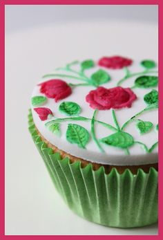 Rosebush Cupcake, made with a springerle mold. Made by my sister..