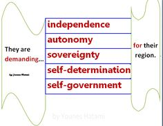 to demand independence, autonomy, sovereignty, self-determination, self-government for