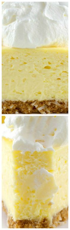 The Best Lemon Cheesecake. Ever ~ Exquisitely light and lemony. Perfectly sweet and tangy. Coconut cookie crust. Lemony whipped cream. This is the best lemon cheesecake ever.