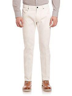 Pal Zileri Slim Stretch Cotton Jeans - Light Grey - Size