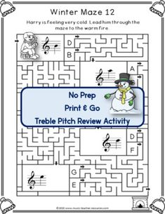 WINTER TREBLE LINES and SPACES MUSIC MAZES This file contains 12 WINTER themed music mazes based on the pitch of the treble staff. For each question box in the maze, there are two answer boxes. If the correct answer is selected, the maze leads to the next question box, but if the incorrect answer is chosen, the maze leads to a dead end. No prep, just print and go! ♫ ♫ #musiceducation #mtr