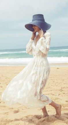 Sheer dresses and floppy hats for the beach