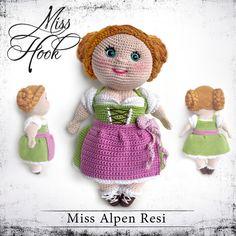 """*Ein fesches Mädel mit strammen Wadeln... das ist Resi!  Großzügig bebilderte, ausführliche Häkelanleitung für die Puppe """"Miss Alpen Resi"""". (PDF 17 Seiten // 6,6 MB)   Schwierigkeitsgrad:..."""