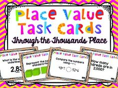 Teach 3.NBT.1 with these Place Value Task Cards. There are 52 task cards that allow students to practice place value through the thousands place. Students will identify the place value, value, represent numbers in written, standards, and expanded form, round to the nearest then and hundred, and compare numbers.