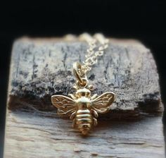 18K Gold Bee Necklace