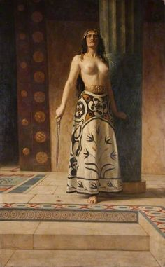Clytemnestra  by John Collier    Date painted: c.1914  Oil on canvas, 238 x 147.8 cm  Collection: Worcester City Museums  I love this painting for 2 reasons: first is the palpable haughtiness of Clytemnestra which is overwhelming. Second is the costume, which is not properly Greek by Mycenaean or Minoan which would be historically accurate. Bravo.