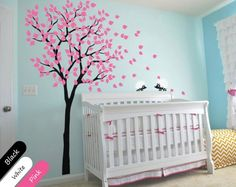 Modern Baby Nursery Wall Decals - Tree Wall Decal - Tree Decal - Hedgehog Decal, Elegant Nursery Decoration for Your Newborn Baby. KR014